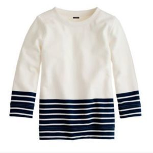 J. Crew Navy White Striped Popover Sweater size XS